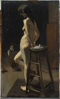 """""""Standing Female Nude With Painter In Background"""", 1904   By: EDWARD HOPPER…."""