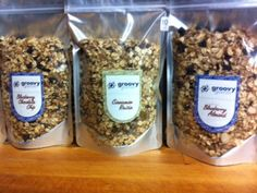 All #natural handmade Groovy Granola comes in the following delicious flavors: Cranberry Almond, Sweet and Spicy, Vanilla Dried Blueberry Almond, and Cinnamon Raisin. http://eatgroovygranola.com/ To learn more about groovy pouch packaging, please visit our #packaging website: http://www.standuppouches.net/food-packaging-bags/?utm_source=pinterest&utm_medium=description&utm_campaign=food