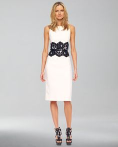 Merino Half-Sleeve Shrug & Lace-Detailed Boucle Sheath Dress   by Michael Kors at Neiman Marcus.