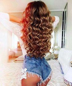45 Lovey-Dovey Curly Hair Styles For Long Hair Curly Hair Styles, Long Curly Hair, Big Hair, Wavy Hair, Curls Hair, Blonde Hair, Pretty Hairstyles, Wig Hairstyles, Hairstyles 2018