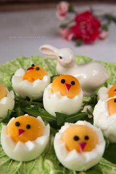 wielkanocne-kurczaki-z-jajek,-egg-chicks-happy-easter6 Polish Recipes, Polish Food, Fruit Recipes, Food Art, Sushi, Brunch, Appetizers, Eggs, Cooking