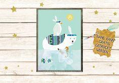 Eisbär mit Pinguin
