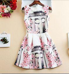 Cherry Blossoms A Line Dress