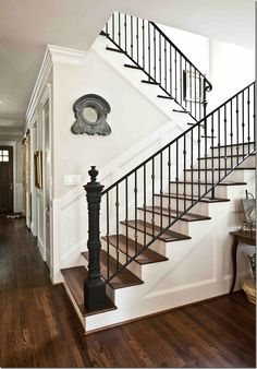 Farmhouse staircase ideas stair iron railing best wrought ideas on eclectic home tour city house farmhouse . Staircase Makeover, Staircase Railings, Staircase Design, Stairways, Banisters, Iron Balusters, Black Banister, Staircase Ideas, Wood Railing