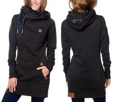 NWOT Naketano Lange VIII Black Pull Over Long Hoodie Sweater Womens M Slim Tunic #Naketano #Hooded
