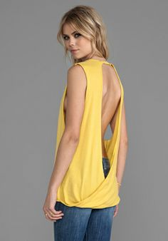 Bobi Light Weight Jersey Open Back Tank in Sunshine