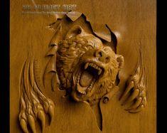 Etsy :: Ваше место для покупки и продажи изделиий ручной работы Wood Carving Designs, Wood Carving Patterns, Wood Carving Art, Router Woodworking, Cnc Router, Diy Log Cabin, Hand Carved Walking Sticks, 3d Cnc, Wood Creations