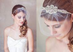 Hochzeit Schleier Stirnband, Art Deco Crystal Pearl Great Gatsby Stirnband, Birdcage Veil, Rouge Schleier, Mini-Schleier-Stirnband, Crystal Headpiece