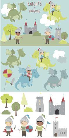 Cute Little Boys, Cute Dragons, Monster Design, Party Invitations, Knight, Castle, Palette, Flag, Clip Art