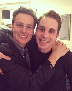 Jonathan Groff and Ben Platt, backstage Dear Evan Hansen in NYC. 19 Dec 2016.