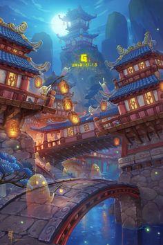Fantasy City, Fantasy Places, Fantasy World, Fantasy Concept Art, Fantasy Artwork, Anime Art Fantasy, Anime Scenery Wallpaper, Landscape Wallpaper, Fantasy Art Landscapes