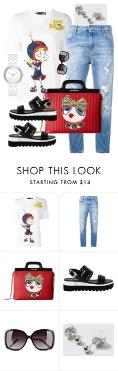 """""""Love Moschino Top, Jeans, Bag, Sandals, Sunglasses"""" by naviaux ❤ liked on Polyvore featuring Love Moschino, Dorothy Perkins and DKNY"""