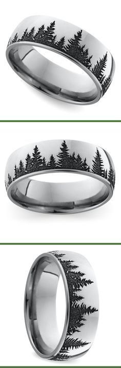 Carved Forest Pattern Men's Wedding Ring in Cobalt This domed 7 mm band features a serene pine forest pattern laser carved into cobalt for a unique look.This domed 7 mm band features a serene pine forest pattern laser carved into cobalt for a unique look. Wedding Men, Wedding Engagement, Dream Wedding, Engagement Rings, Unique Wedding Bands For Him, Wedding Ideas, Before Wedding, Ring Verlobung, Just In Case