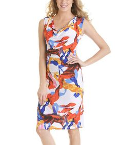 Another great find on #zulily! Red & Cobalt Ribbons Drape Neck Dress #zulilyfinds