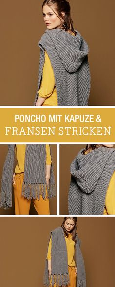 DIY-Anleitung: Modernen Poncho mit Kapuze und Fransen stricken, der diesjährige Modetrend im Herbst / DIY tutorial: knitting modern poncho with hood and fringes, fall fashion via DaWanda.com