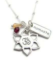 Yoga Jewelry OM Lotus Necklace Namaste Garnet Citrine Gemstone