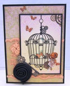 Bird Cage Card by Paradise Scrapbook Boutique in Chico, CA - Card Class by Karen and Deb July 31 at 1:00 pm!
