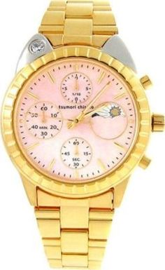 Big Cat Ladies Watch Light Pink Dial; Gold Band
