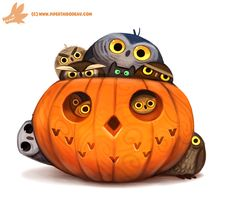 Daily Paint #1075. Happy 'Owlween by Cryptid-Creations.deviantart.com on @DeviantArt