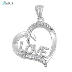 Sideways 21mm Open Heart Shape Pendant for Necklace Solid 925 Sterling Silver Round Pave Rhinestone Clear CZ Valentines Mother Love Day Gift