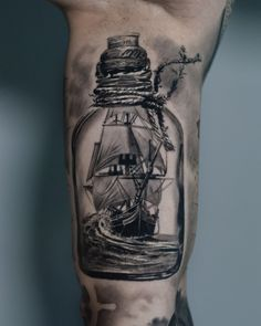 Message in a bottle, ship bottle tattoo By Dragos Calmuc done at CACTUS INK Bucharest. Cactus Tattoo, Bottle Tattoo, Large Tattoos, Message In A Bottle, Sleeve Tattoos, Skull, Messages, Ink, Ship