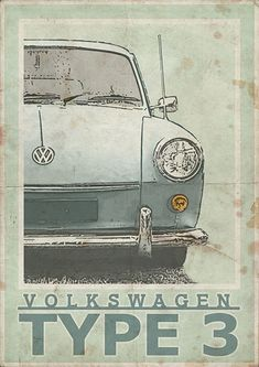 Volkswagen Type 3 Notch, Fast or Squareback - Vintage Style Poster