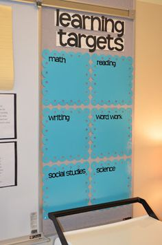 LOVE THIS CLASSROOM ORGANIZATION-- Learning targets with laminated pages for dry erase markers!