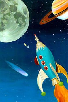 Retro Rocket by Oopsy daisy - Oopsy daisy stretched canvas art is printed to order using the best digital reproduction method available. Each piece of kids' canvas art has amazing clarity an Art Wall Kids, Art For Kids, Canvas Wall Art, Pop Art, Retro Rocket, Ligne Claire, Vintage Space, Science Fiction Art, Retro Futurism