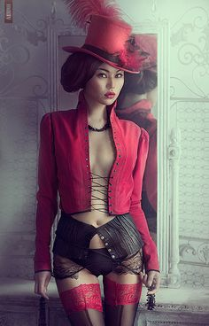 Red - Black - Sexy - Hat - Intimates - Lingerie - Steampunk