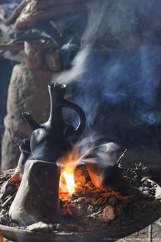 Traditional coffee ceremony in Ethiopia, Africa