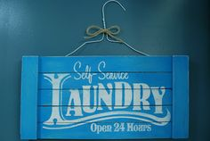 Make this easy DIY laundry room sign with your Silhouette or Cricut. Laundry Decor, Laundry Room Signs, Laundry In Bathroom, Laundry Rooms, Pallet Signs, Wood Signs, Diy Pallet, Pallet Wood, Paint Stirrers