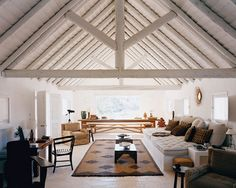 Must have fully loaded living room/cabana in backyard by pool side! The living room cabana in interior designer Jacques Grange's Portugal retreat. Modern Interior Design, Interior And Exterior, Modern Interiors, Room Interior, Living Spaces, Living Room, Ceiling Beams, Beam Ceilings, Slanted Ceiling