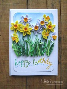 A Touch of Spring - Quilled Daffodils