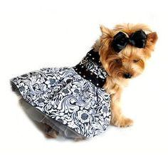 Floral Black and White Designer Doggie Harness Dress