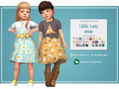 Sims 4 CC - Little Lady Dress for toddlers by Colorful Plumbobs - It's a recolour of the dress that is in the Seasons pack. Toddler Cc Sims 4, Sims 4 Toddler Clothes, Sims 4 Cc Kids Clothing, Toddler Dress, Children Clothing, Toddler Outfits, Toddler Girls, Girl Outfits, Maxis