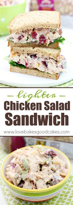 This Lighter Chicken Salad Sandwiches recipe makes a great lunch or dinner idea!