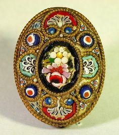 Vintage Florentine Floral Micro Mosaic Italian Brooch
