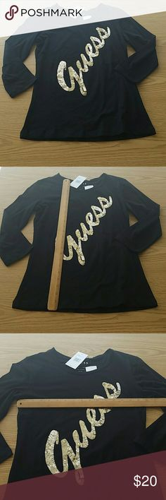 7c5bb38f7d684 NWT Guess Gold Sequin 3/4 Sleeve Top Shirt L Brand new guess top. It's black  with gold sequins. 3/4 sleeve. 100% cotton. Size Large. Measurements in  photos.