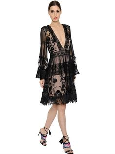 ALBERTA FERRETTI Fringed Tulle   Macramé Lace Dress 0a6721aa973