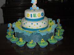 Baby Shower Yellow Blue Green / Baby Shower Amarillo Azul y Verde en Fondant de Creaciones Reina Sofia Zulia Venezuela