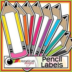 FREE Pencil Labels contains 19 large, brightly colored, pencil shaped labels… Classroom Labels, Classroom Organisation, Classroom Themes, School Classroom, Future Classroom, School Resources, Teaching Resources, Beginning Of School, Back To School