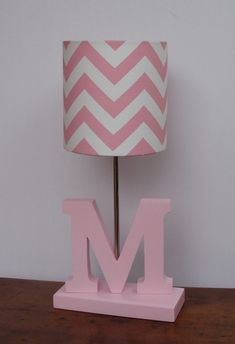 Small Baby Pink/White Chevron Drum Lamp Shade - Nursery or Girl's Lamp Shade on Etsy, $25.00