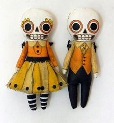 Halloween Skeleton Day of the Dead Ornament Doll-- Original Contemporary Folk Art $50