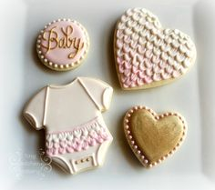 Baby shower cookies set - pink and white and gold ruffles  www.facebook.com/tinykitchencakery