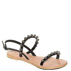 #Sandalo basso fondo cuoio realizzato in pelel nera con palline laminate in argento di #Suite159  http://www.tentazioneshop.it/marche/scarpe-suite-159/