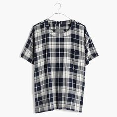 Double Layered Cotton Top Super soft plaid top Madewell Tops Blouses