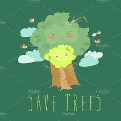 Ecology concept with cartoon trees