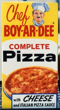 THEN: A complete Chef Boy-ar-dee pizza came in this box.  When I grew up this was the only kind of pizza I ever had until I was 18years old.  We didn't have a pizza joint in the town where I grew up.