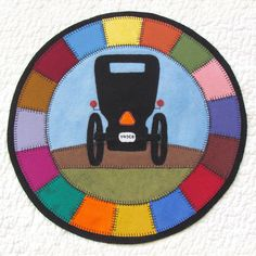 """Wool applique PATTERN - Amish style """"Sunrise"""" table mat home decor. country buggy with quilt surround. by betsyloupatterns on Etsy https://www.etsy.com/listing/193940770/wool-applique-pattern-amish-style"""