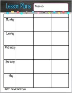 Editable Weekly Lesson Plan Template Teaching Pinterest Lesson